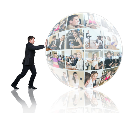 push people: Man push collage of diverse business people in sphere over white background