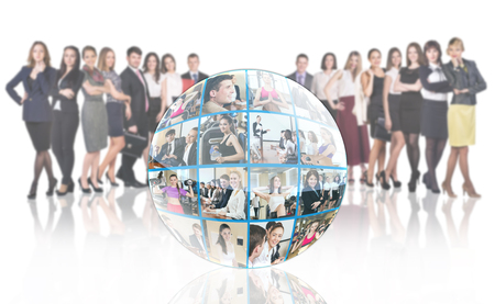 mixed age range: Crowd of people stands beside collage of diverse business people in sphere over white background