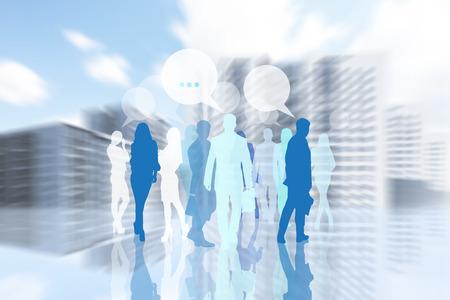 businesslike: People silhouette is walking in defocused city