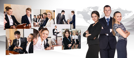 manager team: Collage of business people in conference hall.   Stock Photo