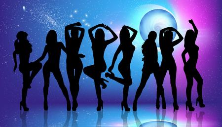 ragazze che ballano: Gruppo di ragazze che ballano silhouette sullo sfondo discoteca Archivio Fotografico
