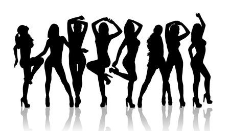 Grupo de silueta chicas bailando en el fondo blanco