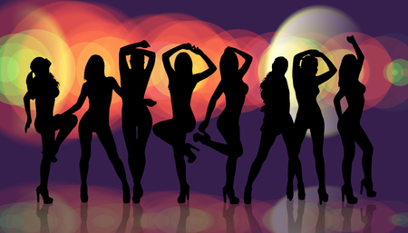 black shadow: Group of silhouette girls dancing on the nightclub background