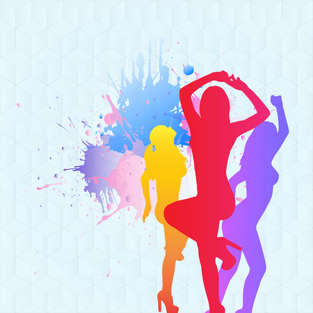 clubbers: Colorful collage of silhouettes is dancing on the blue background Stock Photo