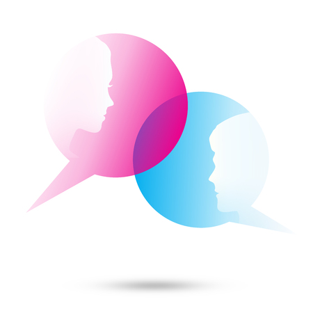 woman speaking: Dialog - Speech two bubbles with two faces on the white background