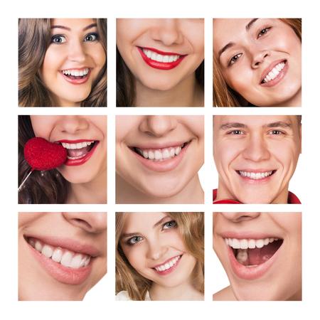 collage caras: La gente sonriente feliz con los dientes sanos. Salud dental. Collage. Foto de archivo