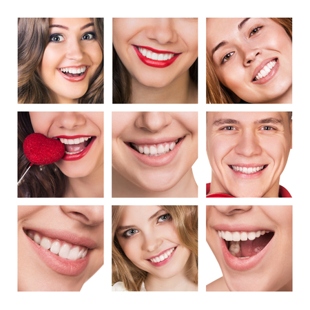 tooth whitening: Smiling happy people with healthy teeth. Dental health. Collage.