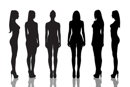 Silhouetten van mooie en naakte meisjes volledige lengte op een witte achtergrond Stockfoto