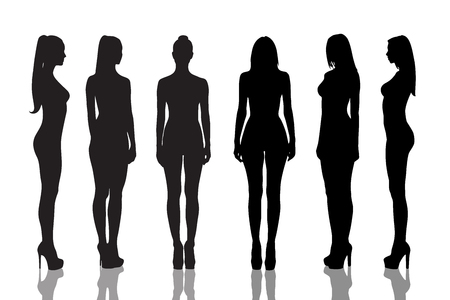 Silhouettes of beautiful  and naked girls full length over white background
