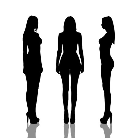 naked girl black hair: Silhouettes of beautiful  and naked girls full length over white background