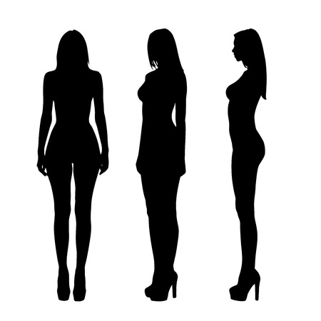 nude art model: Silhouettes of beautiful  and naked girls full length over white background