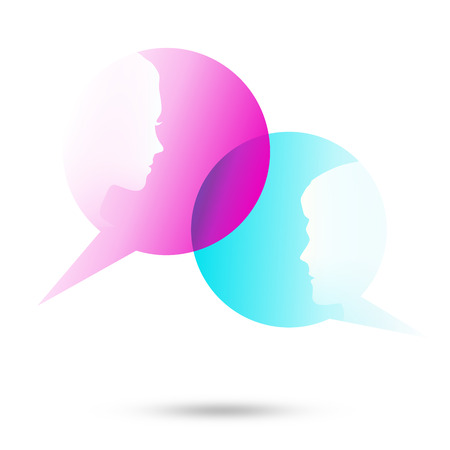 talkative: Dialog - Speech two bubbles with two faces on the white background