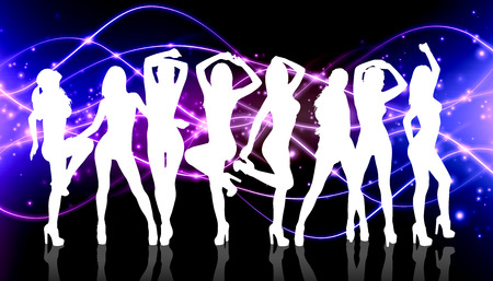 sexy girls: Group of silhouette girls dancing on the nightclub background