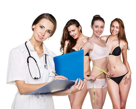 sexy nurse: Doctor consults young women about diet on the white background Stock Photo