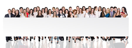 Group of business people presenting empty banner over white backgrounds Stock Photo