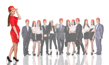full height: Businesswoman, business people, builders, architect isolated over white background Stock Photo
