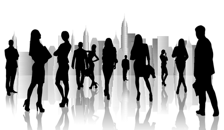 happy workers: Large group of people silhouette over white background