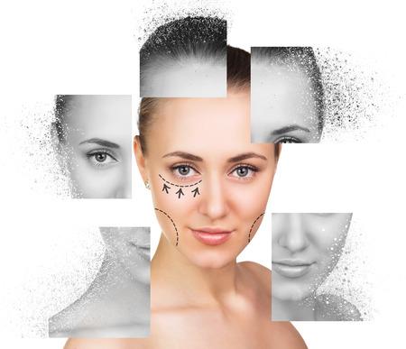 Portrait Collage von jungen, gesunden und schönen Frau Lizenzfreie Bilder