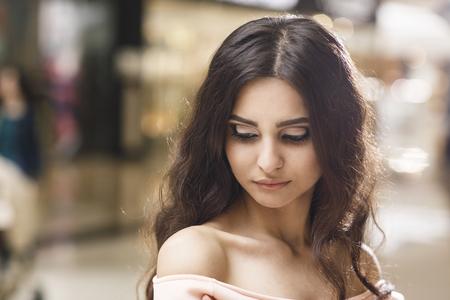 close portrait: Close up portrait of a young stylish woman Stock Photo