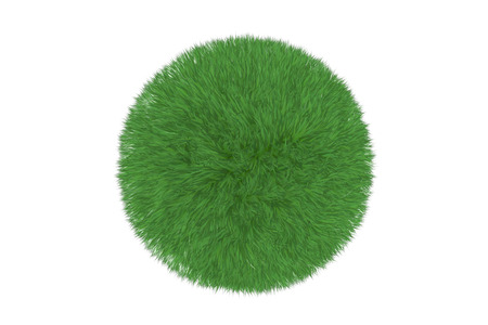 grass land: Green grass ball isolated on white background Stock Photo