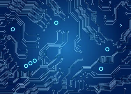 テクノロジー: 青基板の背景にコンピューターのマザーボード