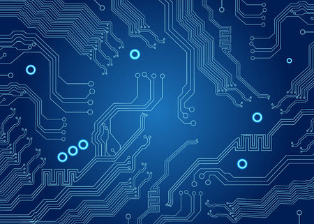 파란색 회로 보드 배경에 컴퓨터의 메인 보드