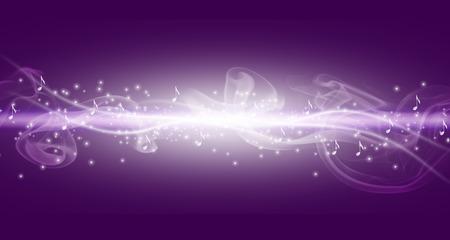 Lila Musik-Hintergrund mit weißen helle Linie und Notizen mit Punkten. Standard-Bild - 45380589