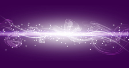music abstract: Purple music background with white bright line and notes with dots.