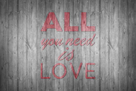 line art: All you need is love - handmade calligraphy, illustrated background
