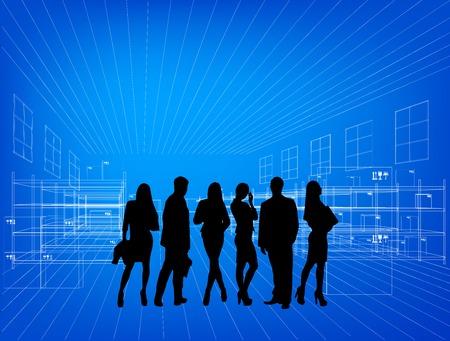 arquitecto: Siluetas de personas de negocios en el almac�n dibujado. En el fondo azul
