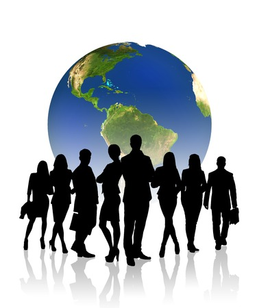world of work: Silhouettes of business people in front of the globe.Elements of this image furnished by NASA Stock Photo