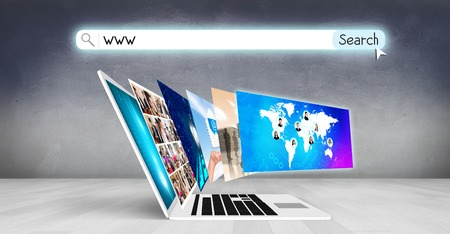 presentation background: Laptop with many screens stand on the floor.Elements of this image furnished by NASA