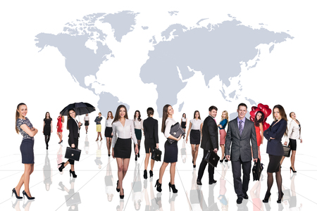 globetrotter: Business people stand on the big map background. Over white background. Elements of this image furnished by NASA