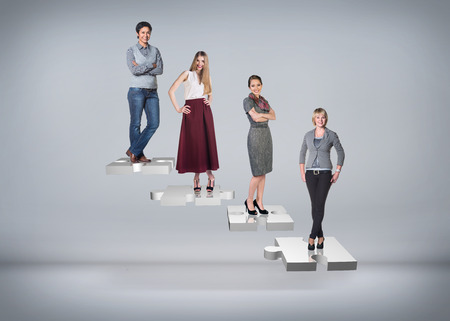 rung: Business people stand on puzzle stairs on the gray background