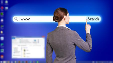telecommute: Blue fullscreen desktop with open searching system Stock Photo