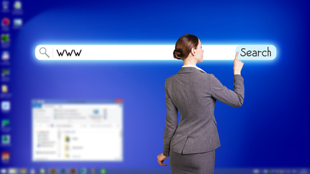 back link: Blue fullscreen desktop with open searching system Stock Photo