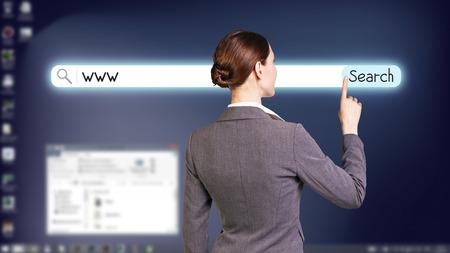 telecommute: Dark blue fullscreen desktop with open searching system Stock Photo