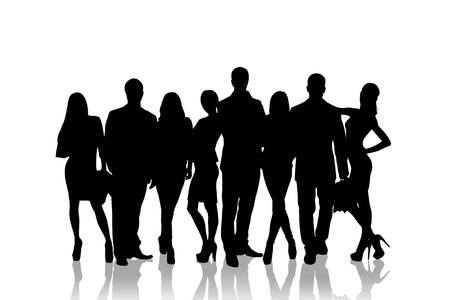 siluetas mujeres: Large group of people silhouette over white background