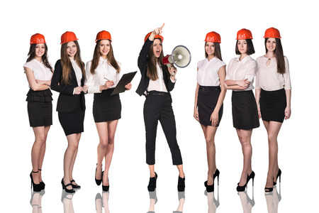 executive helmet: Group of business women on the white background