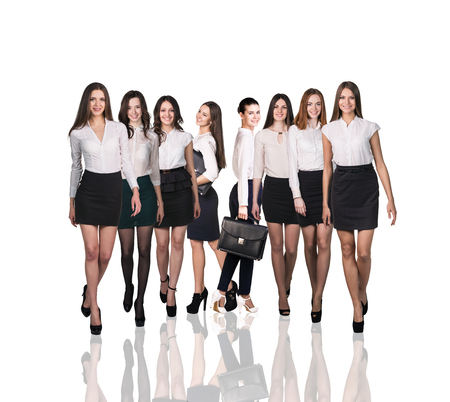 only women: Bussiness women smiling and stand over white backgroud