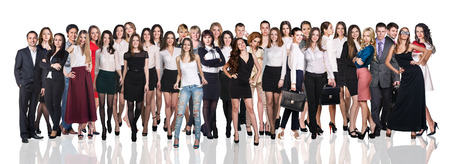 huge: Huge crowd of business people on the white background