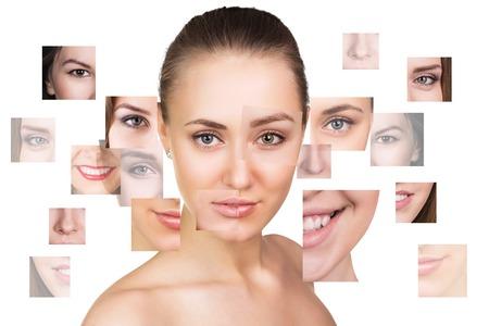 Portret collage van jonge, gezonde en mooie vrouw