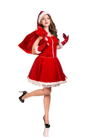 sexy santa girl: Beautiful and sexy woman wearing santa clause costume