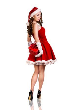 sexy young girl: Красивая и сексуальная женщина, носить костюм Санта-Клауса Фото со стока