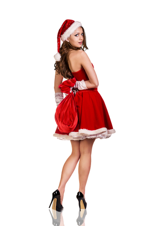 young  brunette: Beautiful and sexy woman wearing santa clause costume