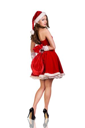 fille sexy: Femme belle et sexy portant santa clause costume