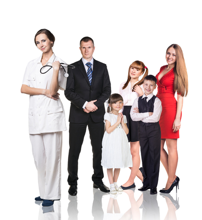 pediatrist: Big family at the doctor appointment isolated on the white background