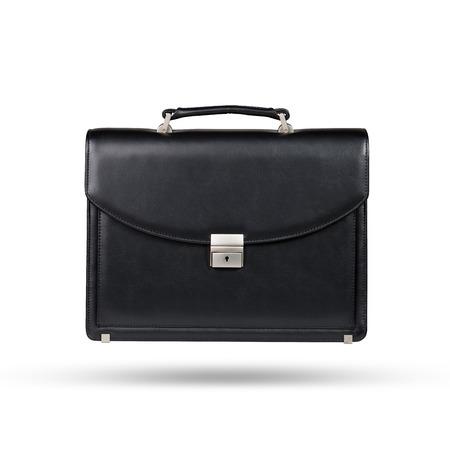 흰색 배경에 고립 된 블랙 가죽 서류 가방