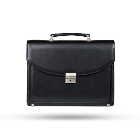 leather briefcase: Black leather briefcase isolated on the white background