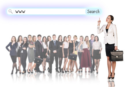 large group of business people: Large group of business people with woman leader. Isolated on white Stock Photo